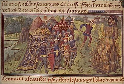 Miniature d'un homme sauvage livré au bûcher (Anonyme, Le Livre des Conquestes et Faits d'Alexandre, 1475)