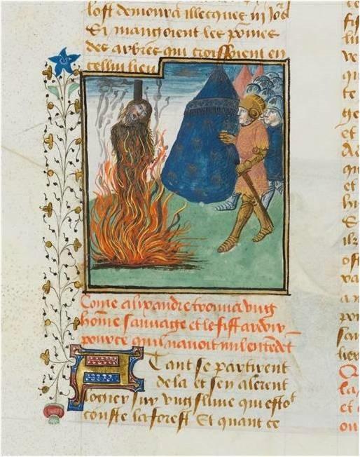 Alexandre livre au bûcher un homme sauvage, (Anonyme, Roman des activités d'Alexandre, XVème siècle)