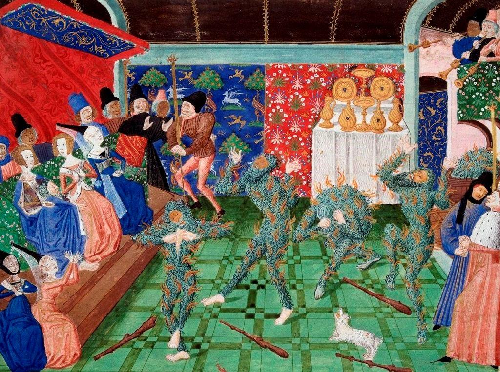 Le bal des Ardents (Miniature attribuée à Philippe de Mazerolles, XVème siècle)